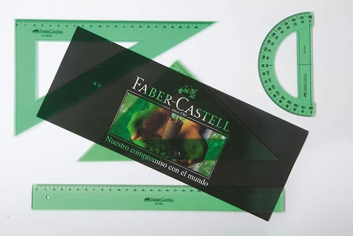 Conjunto escuadra y cartabon 25 cm., regla 30 cm. y semicirculo 13 cm. Faber Castell
