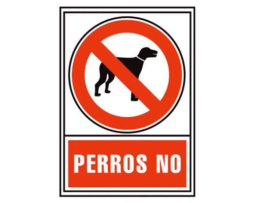 """Placa de señalización de ARCHIVO 2000 """"Perros no"""". 210 x 297 mm (01C6174-03RJ)"""