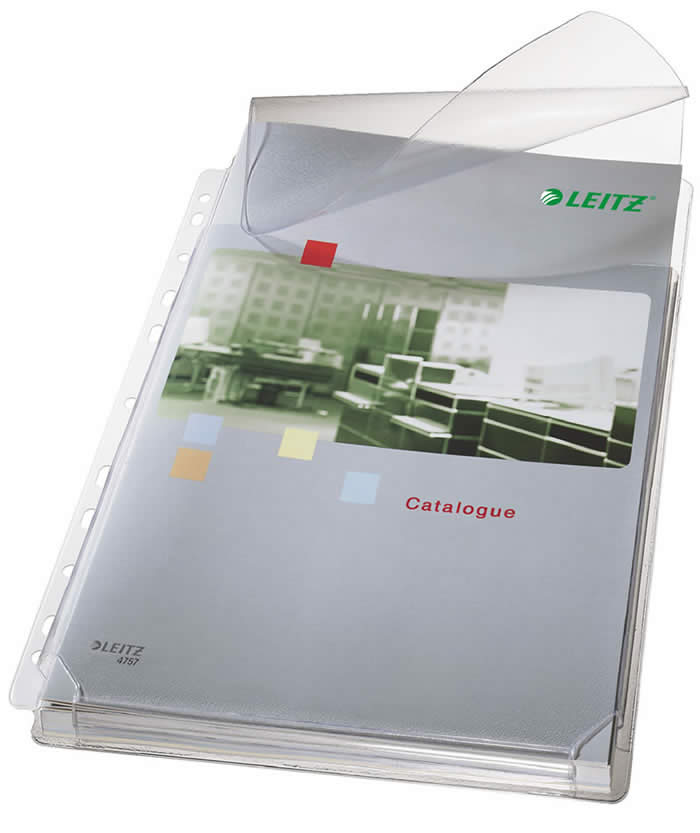 Bolsa 5 fundas multitaladro LEITZ PVC A4 con solapa y refuerzo 11 taladros (47573003)