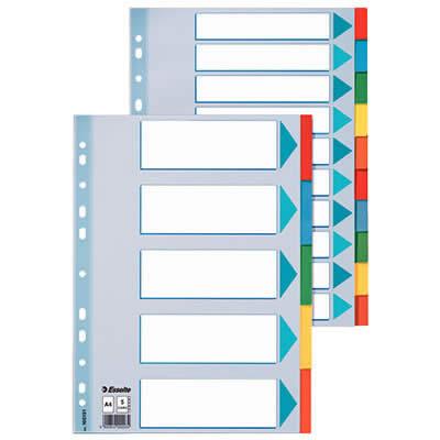 Separador ESSELTE cartón índice color 10 posiciones A4 (100193)