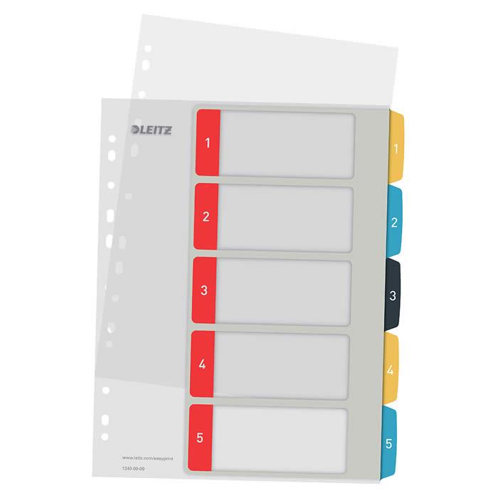 Índice de proyectos imprimible Leitz A4 pestañas p.p. 1-5 (12400000)