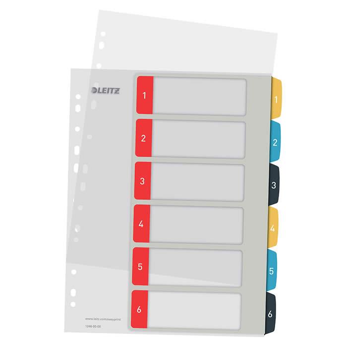 Índice de proyectos imprimible Leitz A4 pestañas p.p. 1-6 (12460000)