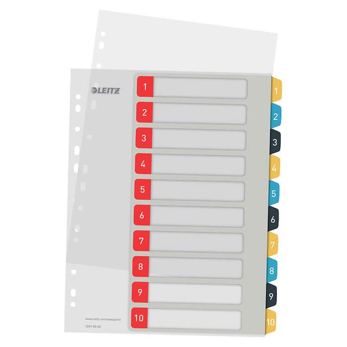 Índice de proyectos imprimible Leitz A4 pestañas p.p. 1-10 (12470000)