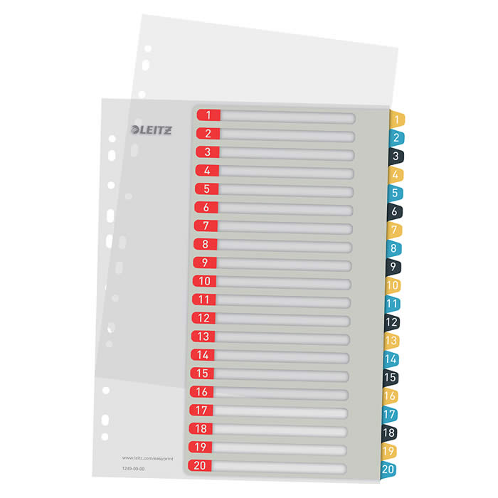 Índice de proyectos imprimible Leitz A4 pestañas p.p. 1-20 (12490000)