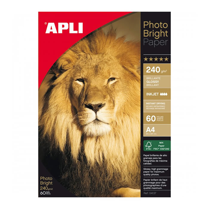 PAPEL PHOTO APLI BRIGHT 240 GRS. 60 HOJAS (4137)