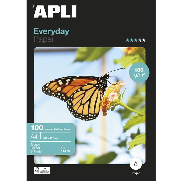 PAPEL GLOSSY APLI A4 EVERYDAY PAPER 180 GRS. 100 HOJAS (11475)