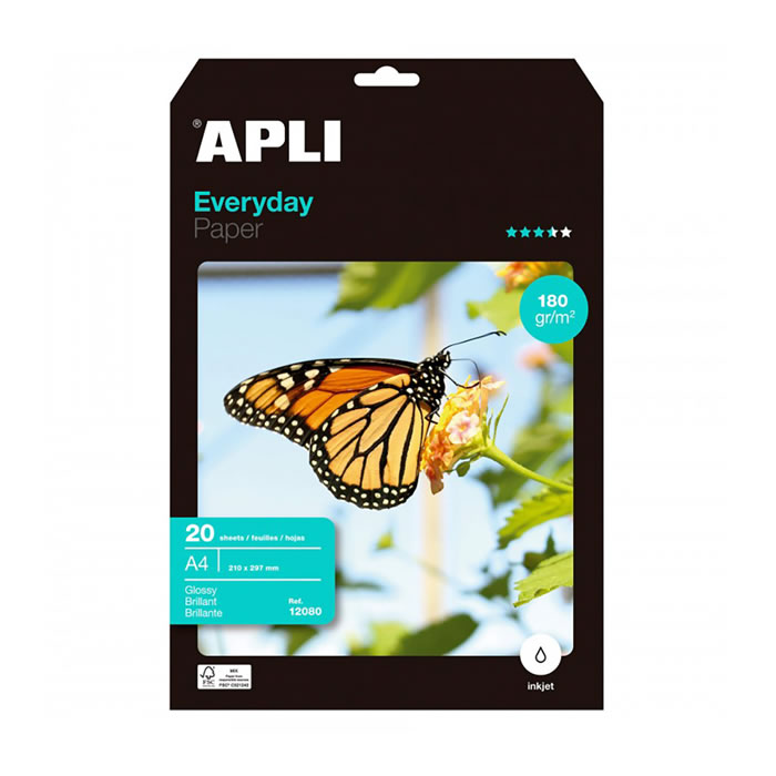 PAPEL PHOTO APLI EVERYDAY 180 GRS. 20 HOJAS A4 (12080)
