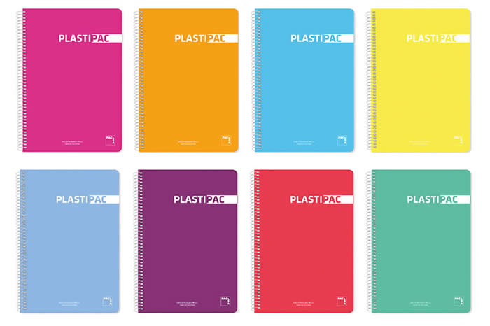 Cuaderno pacsa tapa p.p. Extra dura fº 80 hojas 90 grs. Col. Surt. Cdla. Plastipac (16467)