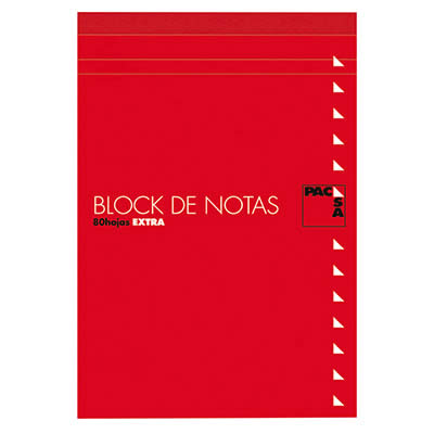 BLOC NOTAS PACSA CON TAPA Fº 80 HOJAS DE 60 GRS. LISO (18902)