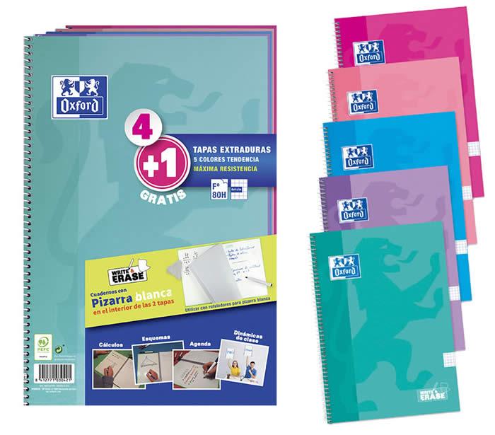 Cuaderno oxford pack 4+1 fº school write&erase 80h 4x4 surtido tendencia (400122766)