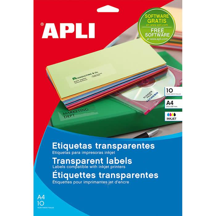 ETIQUETAS APLI TRANSPARENTES INKJET A4 10 HOJAS (10053)
