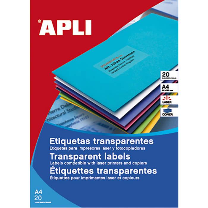ETIQUETAS APLI TRANSPARENTES LASER/COPY A4 20 HOJAS (01225)