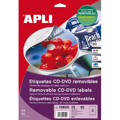 ETIQUETAS APLI MULTIMEDIA CD/DVD 114 DTRO. ADHESIVO REMOVIBLE (02001)
