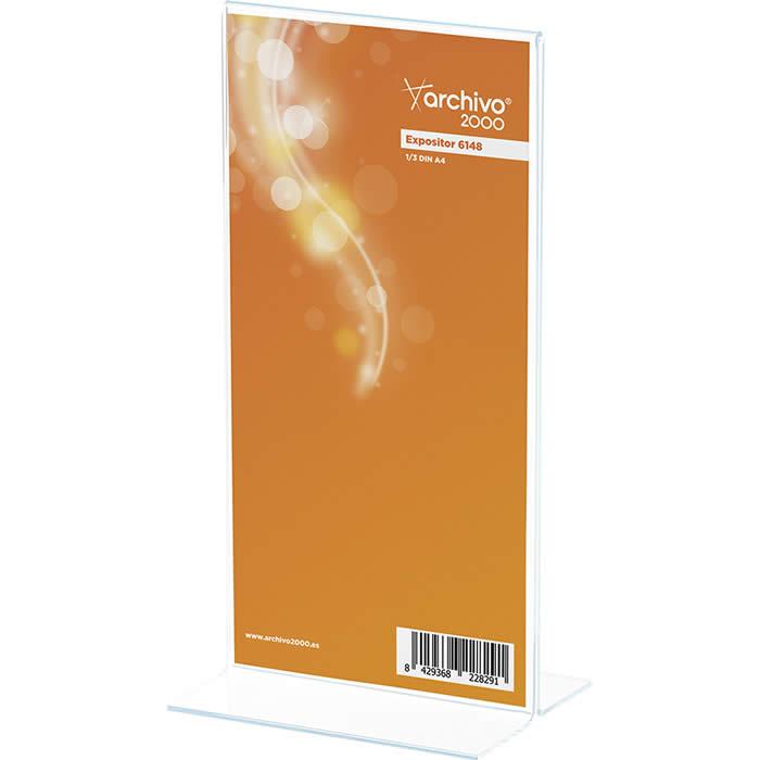 Expositor de ARCHIVO 2000 con forma de T. Tamaño de 1/3 de A4  80 x 100 x 215 mm. Color transparente (01CDE45101CSTP)