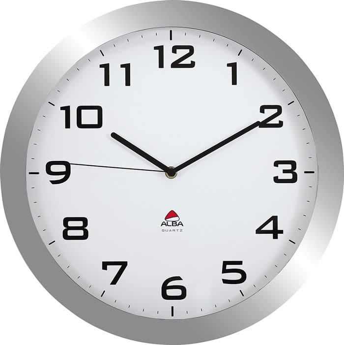 Reloj de pared Alba análogico silencioso con lente de cristal 55x380 mm. gris (alhorissimo gs)
