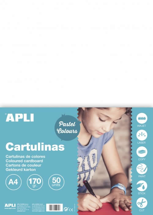 CARTULINA APLI 170 GRS. A4 50 HOJAS BLANCO (14229)