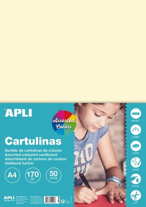 CARTULINA APLI 170 GRS. A4 COL. SUR. PASTEL 10 COL. (15116)