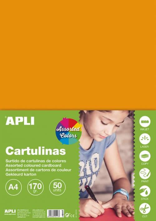 CARTULINA APLI 170 GRS. A4 COL. SUR. INTENSO 5 COL. (15117)