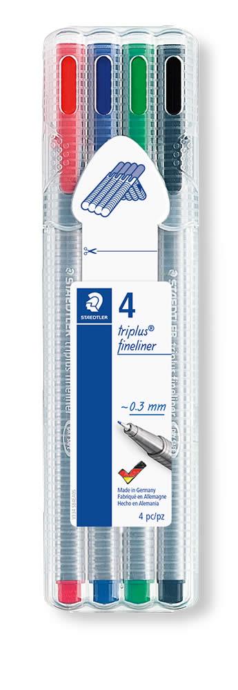 ESTUCHE 4 ROTULADORES STAEDTLER TRIPLUS FINELINER COLORES BASICOS (334 SB4)