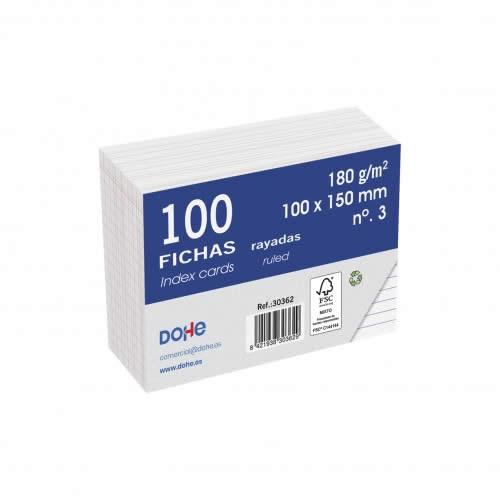 FICHAS DOHE CARTULINA RAYADO HORIZONTAL 100X150 MM. (30362)