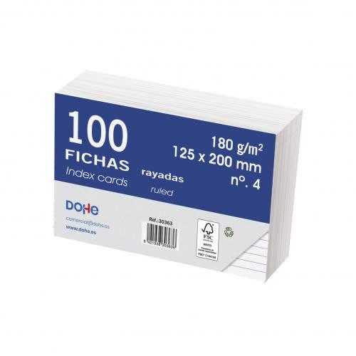 FICHAS DOHE CARTULINA RAYADO HORIZONTAL 125X200 MM. (30363)