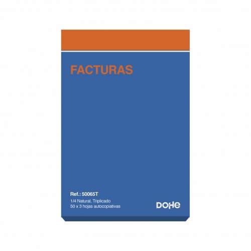 TALONARIO FACTURAS DOHE TRIPLICADO 50 JUEGOS 14,4X21 CM. (50065T)