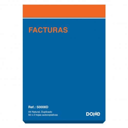 TALONARIO FACTURAS DOHE A4 DUPLICADO 50 JUEGOS 21 X 29,7 CM. (50008D)