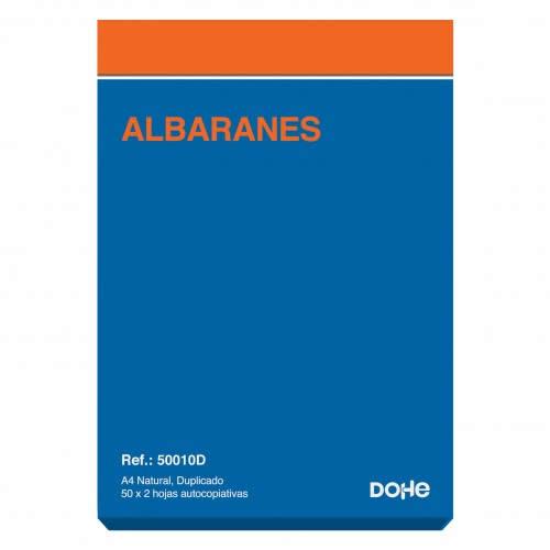 TALONARIO ALBARANES DOHE A4 DUPLICADO 50 JUEGOS 21 X 29,7 CM. (50010D)